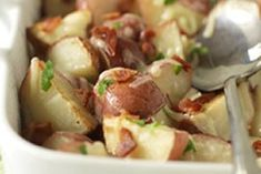 Roasted Red Potatoes with Bacon & Cheese One bite of our. Roasted Red Potatoes with Bacon & Cheese One bite of our better-for-you bacon cheese and ranch red potatoes and youll think youve died and went to spud heaven. Take another bite. Potato Dishes, Potato Recipes, Vegetable Recipes, Cheese Recipes, Food Dishes, Cooking Recipes, Side Dishes, Cooking Stuff, Vegetable Dishes