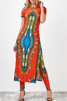 $20.45 High Slit Africa Print Robe Dress with Pants