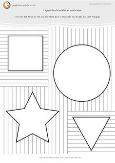 PDF Fiche de Graphisme Maternelle GS Les traits - Compléter les formes géométriques en reliants les lignes verticales ou horizontales qui manquent.
