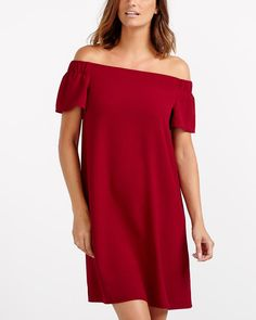 This flattering Off The Shoulder Dress is a show stopper! Feminine, it features elastic at sleeves to keep the neckline in place and the hem hits just above the knee to reveal your legs. This elegant dress is perfect for a date night or a party. Canadian Clothing, Off The Shoulder, Shoulder Dress, Feminine, Legs, Elegant, Sleeves, Clothes, Dresses