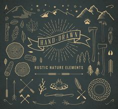 Check out Hand-Drawn Rustic Nature Elements by Adrian Pelletier on Creative Market