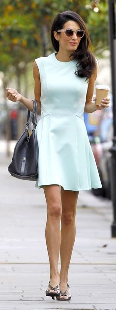 Amal Alamuddin in a mint green dress.