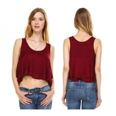 8565a861a33 Urban Love Women s Double Layer Loose Crop Tank    Burgundy  womenswear   womensfashion  . Calibre Apparel