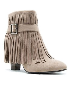 Another great find on #zulily! Taupe Fringe Madge Bootie #zulilyfinds