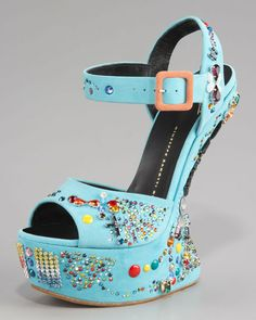 Giuseppe Zanotti No Heel Crystalstudded Sandal in Blue; I don't like the decoration on the shoe but I adore the style!