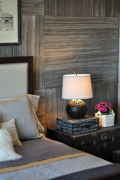 Judith Balis: strie wall treatment, charcoal, nightstand, old trunk, linen