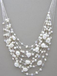 Freshwater Pearl Necklace  Multi Strands White by HandMadeBKK, $24.95