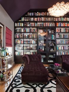 apartment built in bookcase decor tufted purple chez lounge Contemporary-Living-Room