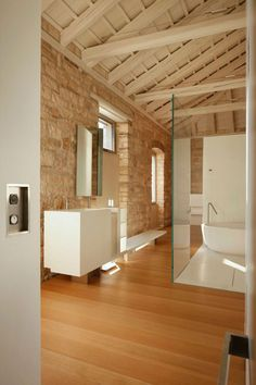 Architecture: Awesome Tower Resident Architecture with Modern Interior by Giorgio Zaetta Architect, in Rovijn, Croatia. Excellent Bathroom Design Interior with Washhand and Bath Tub and Wooden Floor