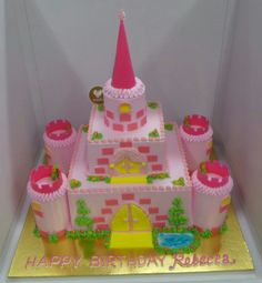 Pink Castle Cake with spaces to put your own princess toppers!!