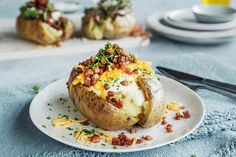 Baked Potato, Food And Drink, Potatoes, Sweets, Bacon, Eat, Ethnic Recipes, Summer, Gummi Candy