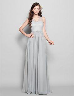 Vestido de dama de honor Corte Recto - Escote en V - Hasta el Suelo (Gasa) – MXN $ 1,859.93