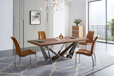 Liven up your dining room with our This table features an unique silver shiny base that is sure to catch the eye of your guests. The wooden top creates a pleasing look that completes this table. This set includes a table and 4 side chairs. Dining Table Chairs, Dining Room Furniture, A Table, Acme Furniture, Dining Sets, Side Chairs, Contemporary Dining Room Sets, Contemporary Furniture Stores, Contemporary Style