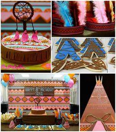 Aztec + Pocahontas boho themed birthday party with Lots of Really Cute Ideas via Kara's Party Ideas KarasPartyIdeas.com #pocahontasparty #nativea...