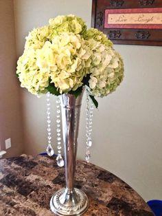 Tall crystal hydrangea wedding centerpiece by flowershackblooms.com