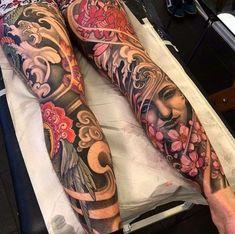 Oriental Japanese leg tattoo