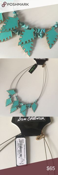 """1 DAY SALE!!! + Sam Edleman + turquoise necklace I love this necklace so much--such an interesting and classy use of semi-precious, arrowhead shaped turquoise by Sam Edelman. Double stranded on wire, accented with gold tone, lobster-claw clasp, engraved logo charm, 18"""". NWT. Sam Edelman Jewelry Necklaces"""