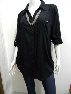wengpot New Arian roll-up sleeves soft blouse fits XL- XL voluptuous frames