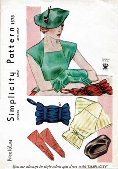 1930s 30s Vintage accessories Sewing Pattern blouse, hat, gloves, belt, winter…
