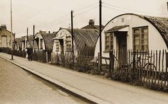 Towards the end of the Second World War families were housed in tiny prefabricated homes and told they'd be there for only a couple of years. A photo of the last remaining Nissen huts in Bridge Road in Stratford in June 1969 - Steve Lewis East End London, London Map, Old London, South London, London History, British History, Local History, Family History, Old Pictures