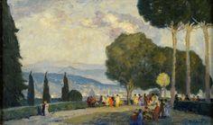 Graf, Oskar 1870 Freiburg - 1957 Bad Boll Blick auf Florenz. Signiert. Datiert (19) 23. Öl/Lwd., — Gemälde