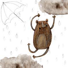 olishka | Illustrations by Aleksandra Szmidtillustration, children illustration, kids illustration, gouache, painting, art, bear, rain, umbrella