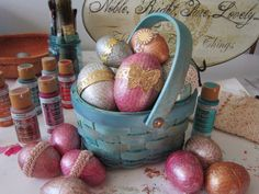 Easter eggs, of the mixed media, collage type persuasion. #easter #decoartprojects