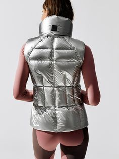 Freedom Vest in Silver by Sam. Vest Outfits For Women, Sexy Outfits, Trendy Outfits, Jackets For Women, Clothes For Women, Puffer Vest Outfit, Vest Coat, Vest Jacket, Winter Vest