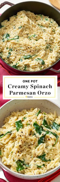 One Pot, Pan, or Dish Creamy Spinach, Parmesan & Orzo Pasta Recipe. Need recipes and ideas for easy weeknight dinners and meals? Vegetarian and perfect for a side dish or a main dish. To make this modern comfort food, you'll need: olive oil, onion, garlic, orzo, chicken or veggie/vegetable broth, milk, baby spinach or other greens, parm cheese.