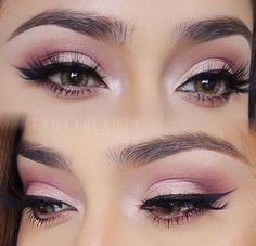 Stunning pink eyeshadow with winged liner look!