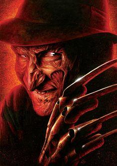 Freddy Krueger Art Print by craigmackay Freddy Krueger, Horror Icons, Horror Comics, Horror Films, Halloween Movie Night, Samurai, Horror Artwork, Classic Horror Movies, Halloween Wallpaper