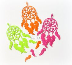 15 Colorful Large Embossed Dream Catcher Cut outs with 30 extra small feather cut outs-Set of 15 pcs by StudioIdea on Etsy