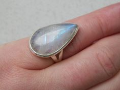 Sale Adorable Large Rainbow Moonstone Ring 925 Silver by edolena
