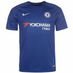Nike Chelsea Home Shirt 2017 2018 This Nike Chelsea Home Shirt 2017 2018 has been engineered with Dri-Fit technology which wicks sweat away from your skin to ke Football Kits, Nike Football, Chelsea, Soccer Shop, Manchester United, Premier League, Mens Tops, T Shirt, Blues