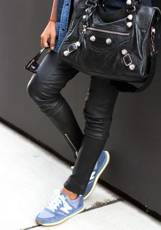 New Balance | leather skinnies, Balenciaga bag, sneakers #leather #streetstyle