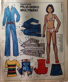 Finnish paper doll Pilvi-Sisko Multimäki Dress Up Dolls, Vintage Paper Dolls, My Heritage, Crafty Craft, Old Toys, Mannequins, Childhood Memories, Nostalgia, Creations