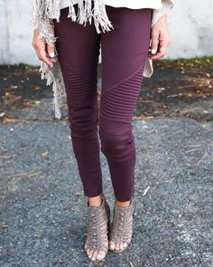 The Wine Moto Jegging is uber stylish and comfortable. Great stretch and fit. Thick elastic waistband and ankle zipper detail. Each color variation is different, as they are hand-dyed and each product