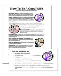 "Do you think you know what it takes to be a good wife? In the they taught this very thing to right from a textbook. This is a hilarious look into the woman who was taught right in high school, ""How To Be A Good Wife"". Read the textbook excerpt for a. Printable Bridal Shower Games, Wedding Shower Games, Wedding Games, Wedding Planning, Wedding Ideas, Party Planning, Wedding Simple, Perfect Wife, Good Wife"