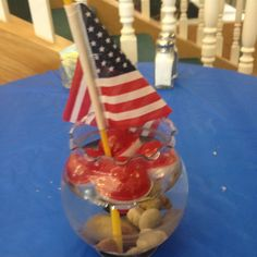 Fathers day fish fry and flag day centerpieces