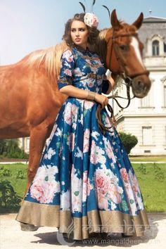 Imposing Blue Raw Silk ReadyMade Anarkali    #Floral, #Printed, #Blue, #FloorLength