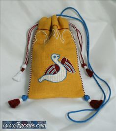 """new item for my artfire shop – small pouch with """"Bayeux Stitch"""" embroidery"""