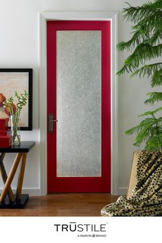 A door design that's full of personality. Bring a unique touch to any interior design by adding pops of color.   🚪FL100 Exterior Doors, Frosted Glass Interior Doors, Custom Interior Doors, Hardwood Interior Doors, Traditional Interior Doors, Glass Doors Interior, Frosted Glass Door, Glass Door, Interior Exterior Doors