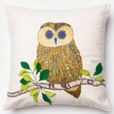 Alexander Home Embroidered Owl Ivory/ Multi Down Feather or Polyester Filled 18-inch Throw Pillow or Pillow Cover