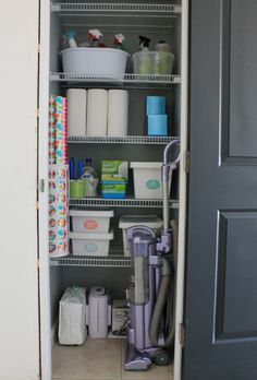 utility-closet-after-vaccuum. wrapping paper storage is a plastic bag holder from Ikea. Coat Closet Organization, Closet Storage, Diy Storage, Home Organization, Storage Ideas, Storage Spaces, Organizing Ideas, Wardrobe Storage, Paper Storage