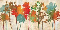 Art work / art print / floral /  ERL6894(R) - ColorfulSilhouette, 61x122 cm / Cuadro Decorativo / Canvas / Litografia / Decoracion / Interiorismo / Flores / Artgallery
