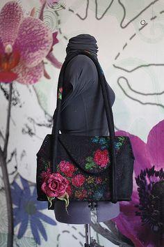 """Купить Сумка """"Русский мотивчик 3"""" - черный, цветочный, сумка, шерстяная сумка"""