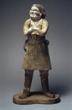 Standing attendant; (foreigner), Tang dynasty (618–906), 7th century China Earthenware with slip and pigment
