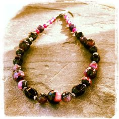 Artisan necklace made of Black/Purple Agate by DriadaCollection, $70.00