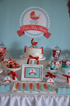 Baby Carriage Baby Shower in Aqua and Red
