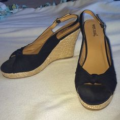 Super cute black wedges! Super cute black wedges for summer!! Has an adjustable back strap that stretches as well. Super adorable and comfy. Shoes Wedges